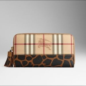 Burberry Camel Haymarket x Animal Print Wallet